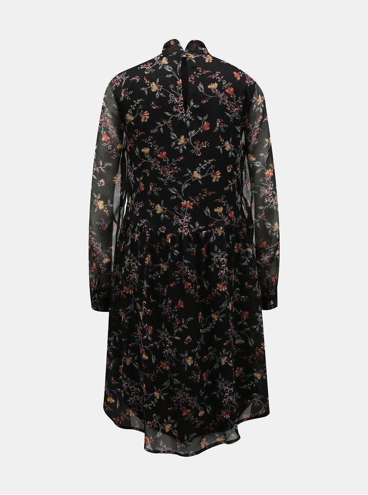 Černé květované šaty VERO MODA Tili