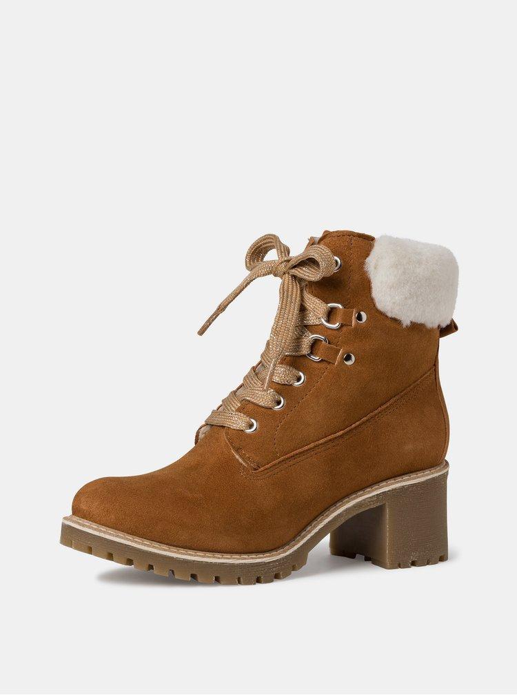 Hnědé semišové zimní kotníkové boty Tamaris
