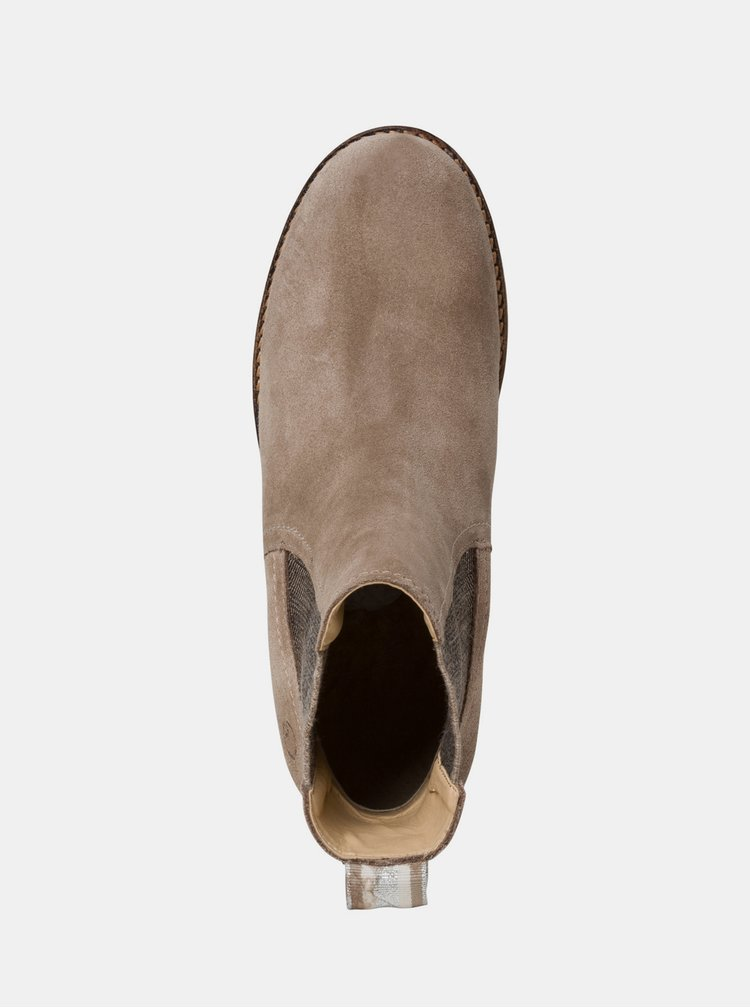 Béžové semišové kotníkové boty Tamaris