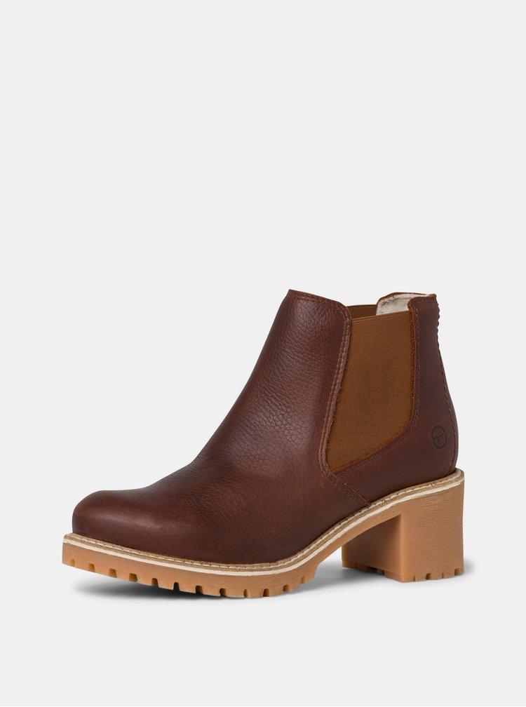 Hnědé kožené chelsea boty Tamaris