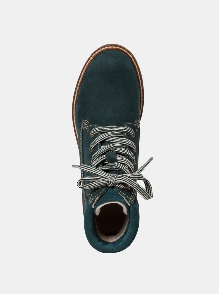 Tmavě zelené kožené kotníkové boty Tamaris