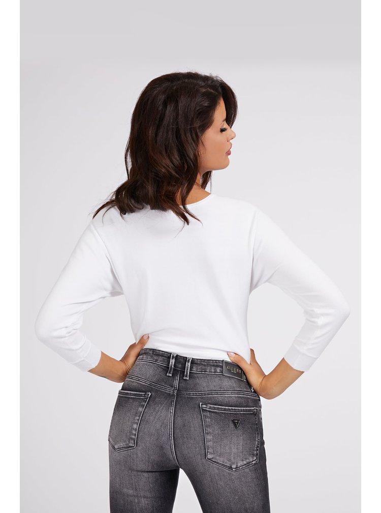Guess bílý svetr Jewel Details Logo Sweater