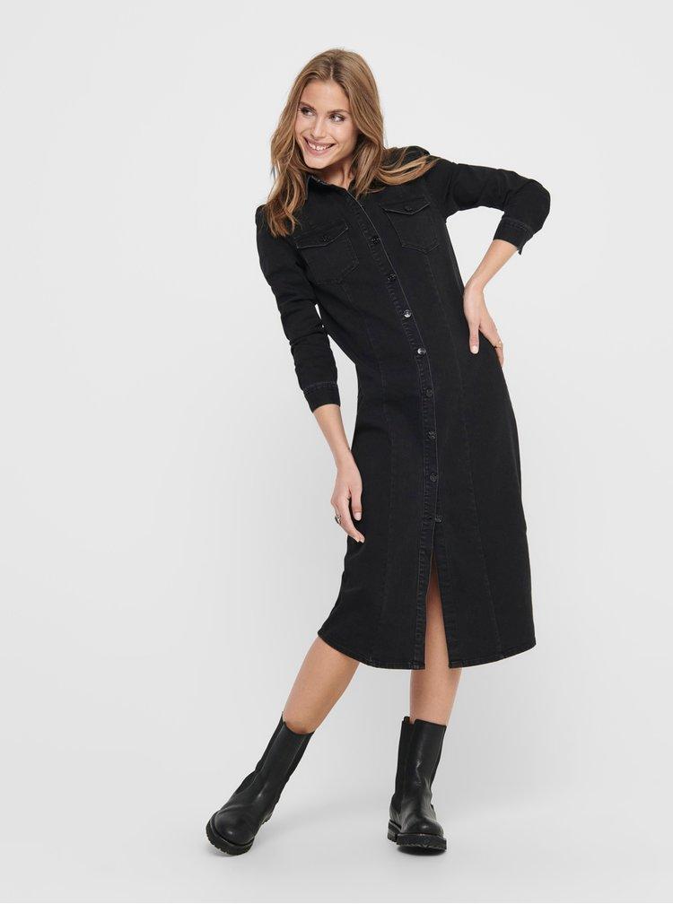 Černé džínové šaty ONLY Mette