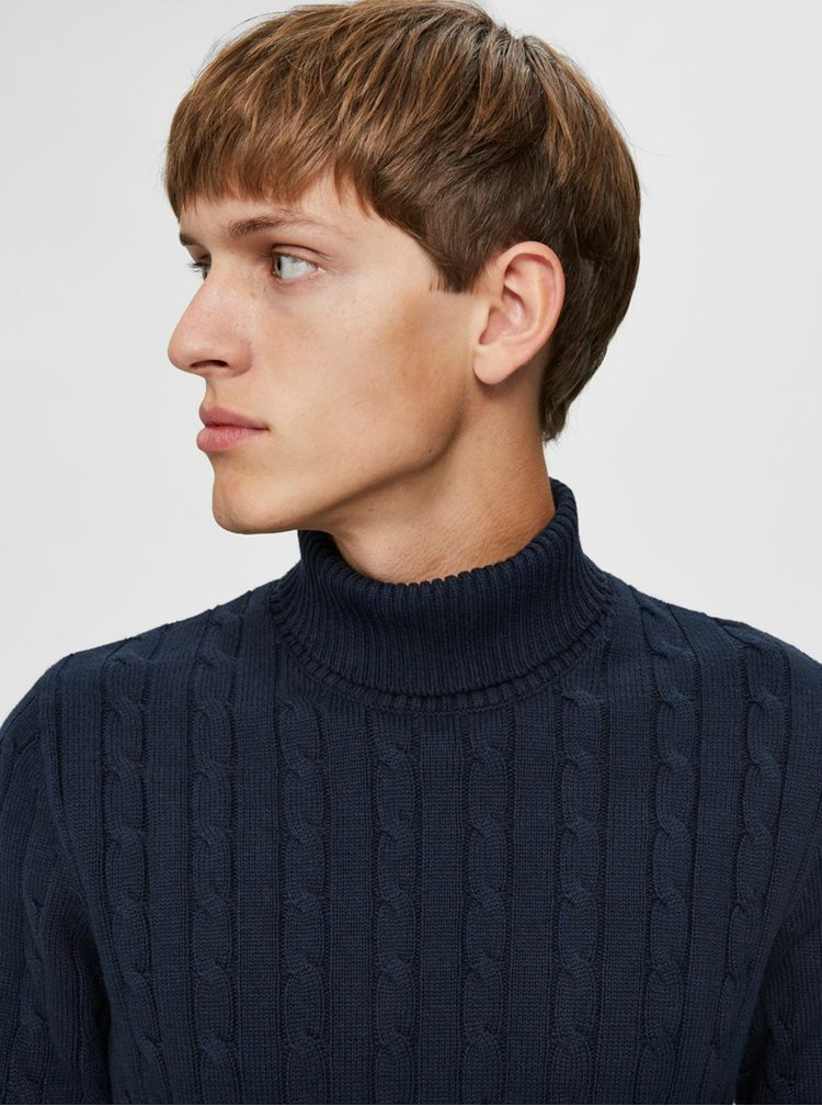 Tmavě modrý svetr s rolákem Selected Homme Ryan