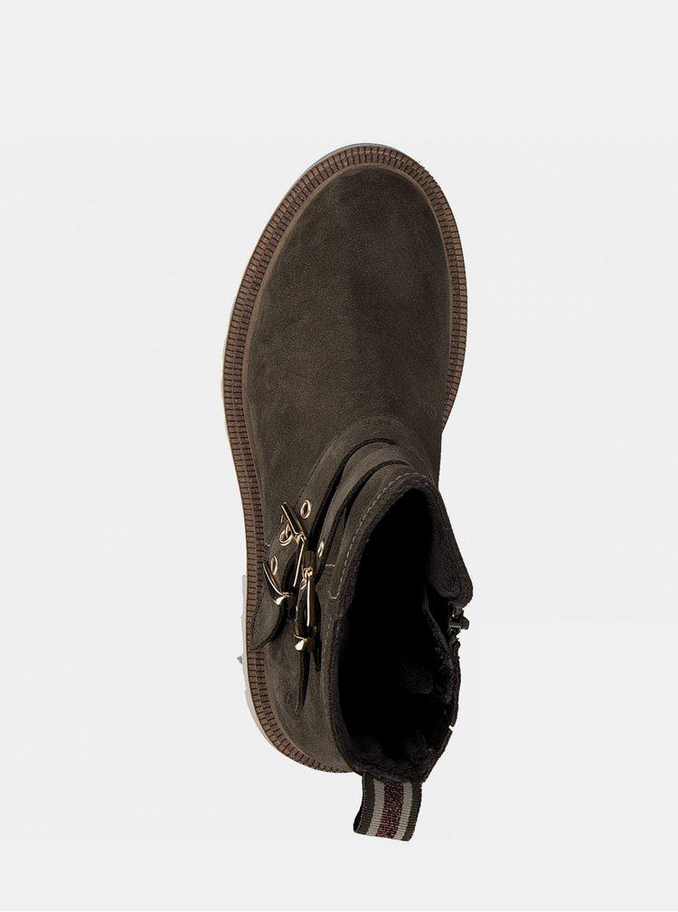 Kaki kožené členkové topánky Tamaris