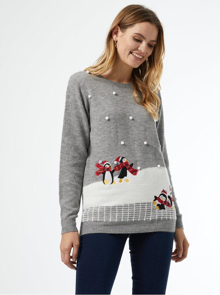 Šedý svetr s vánočním motivem Dorothy Perkins