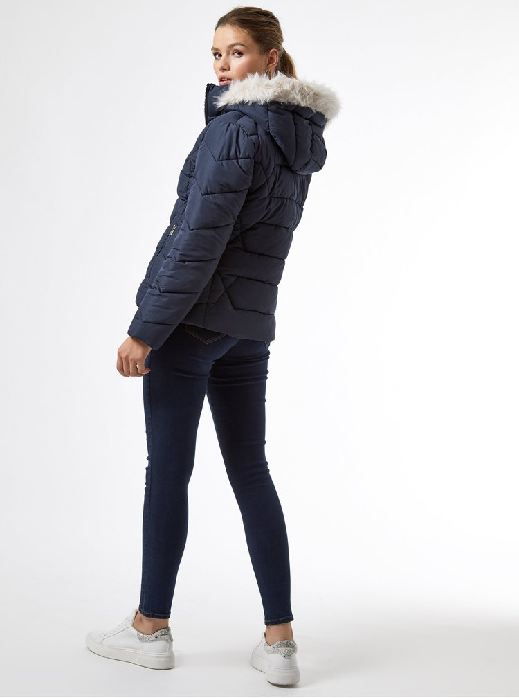 Tmavě modrá zimní prošívaná bunda Dorothy Perkins