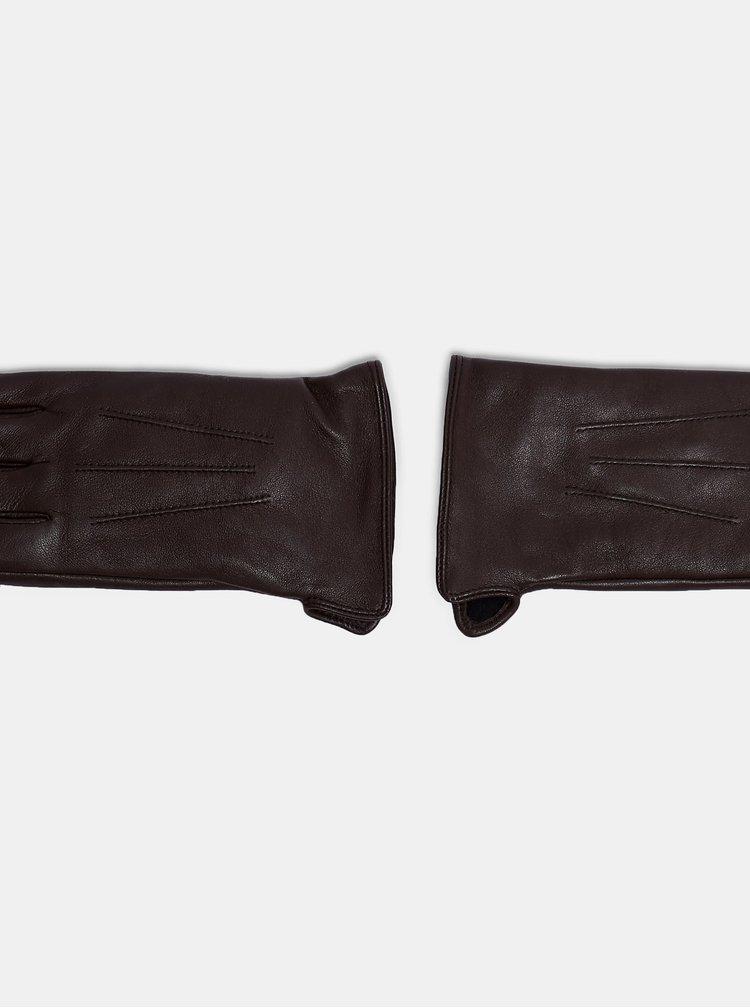 Tmavě hnědé kožené rukavice Dorothy Perkins