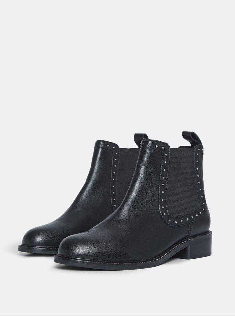 Černé kožené chelsea boty Dorothy Perkins