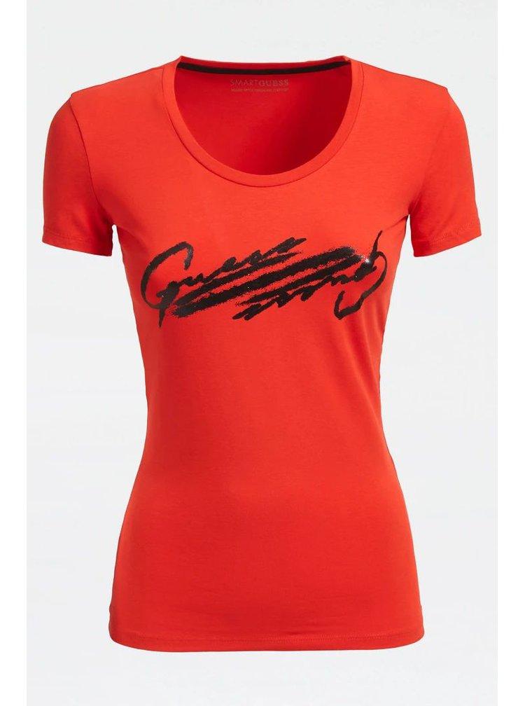 Guess červené tričko Front Logo