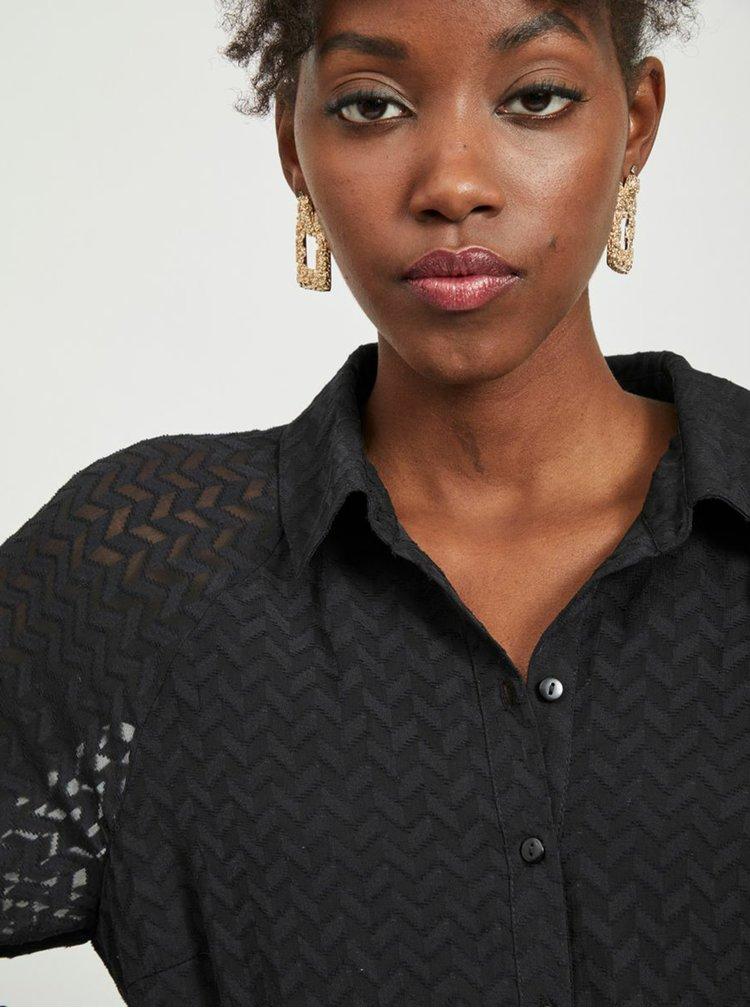 Černé vzorované košilové šaty VILA