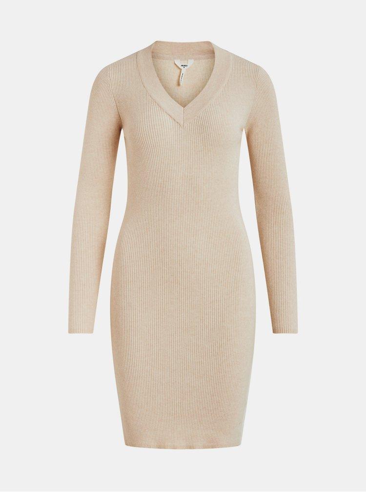 Béžové pouzdrové svetrové šaty .OBJECT