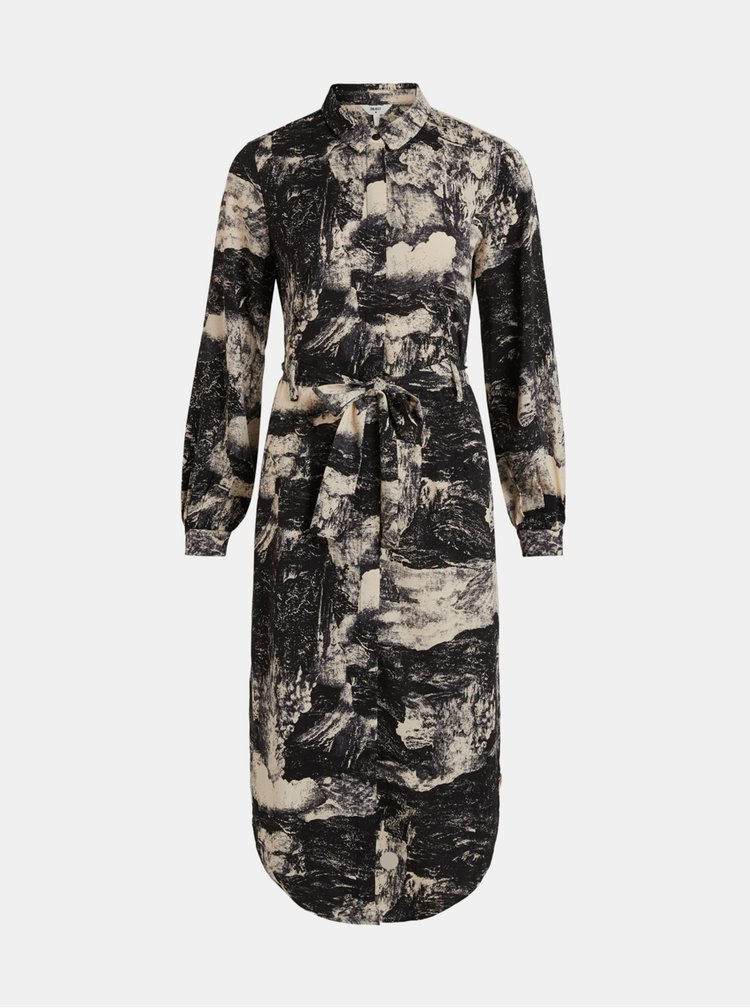 Černé vzorované košilové midišaty .OBJECT