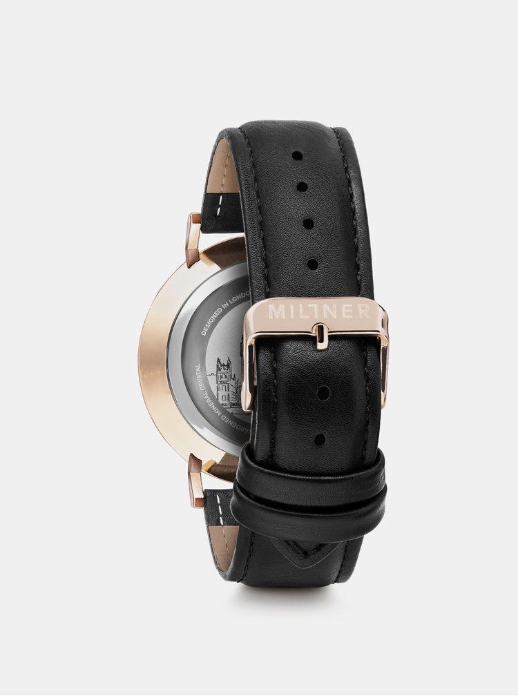 Dámské hodinky s černým koženkovým páskem Millner Hallfield