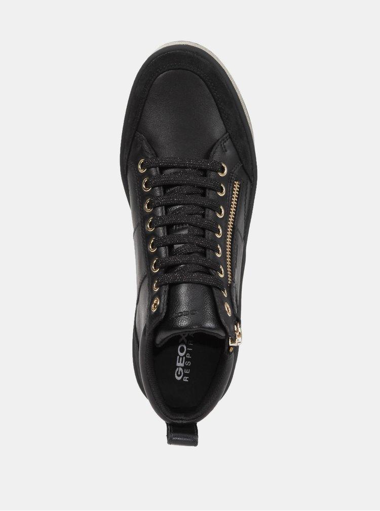 Černé dámské kožené kotníkové tenisky Geox