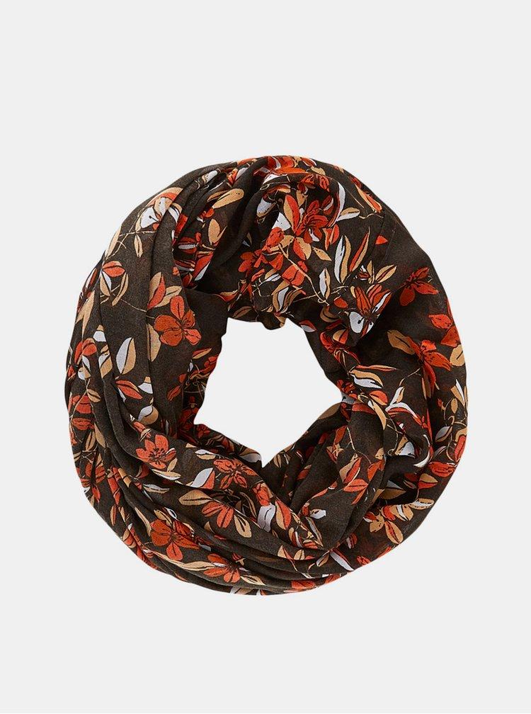 Hnědý květovaný šátek Pieces
