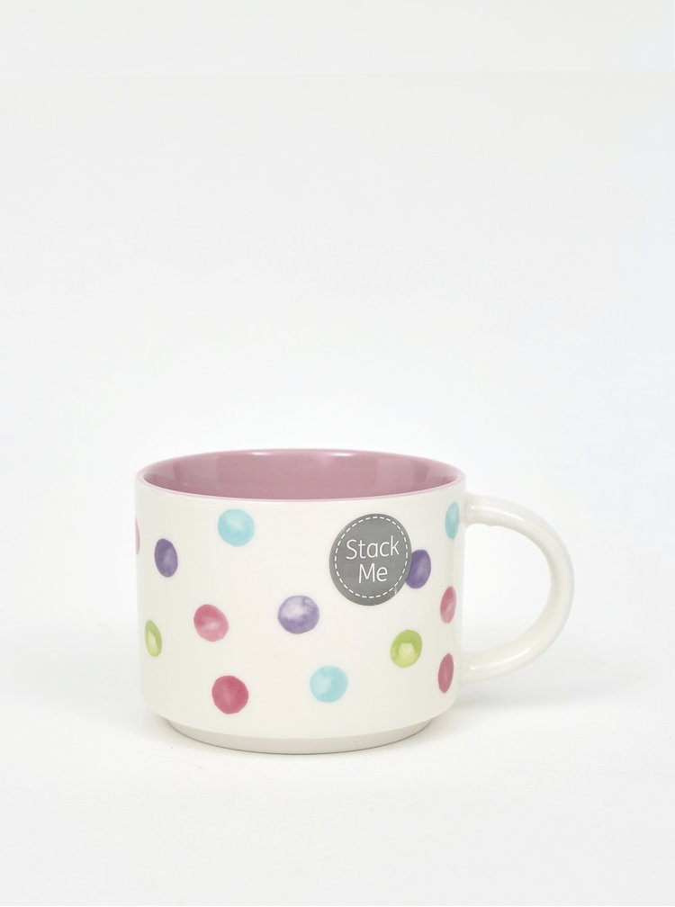 Bílo-růžový puntíkovaný hrníček Cooksmart