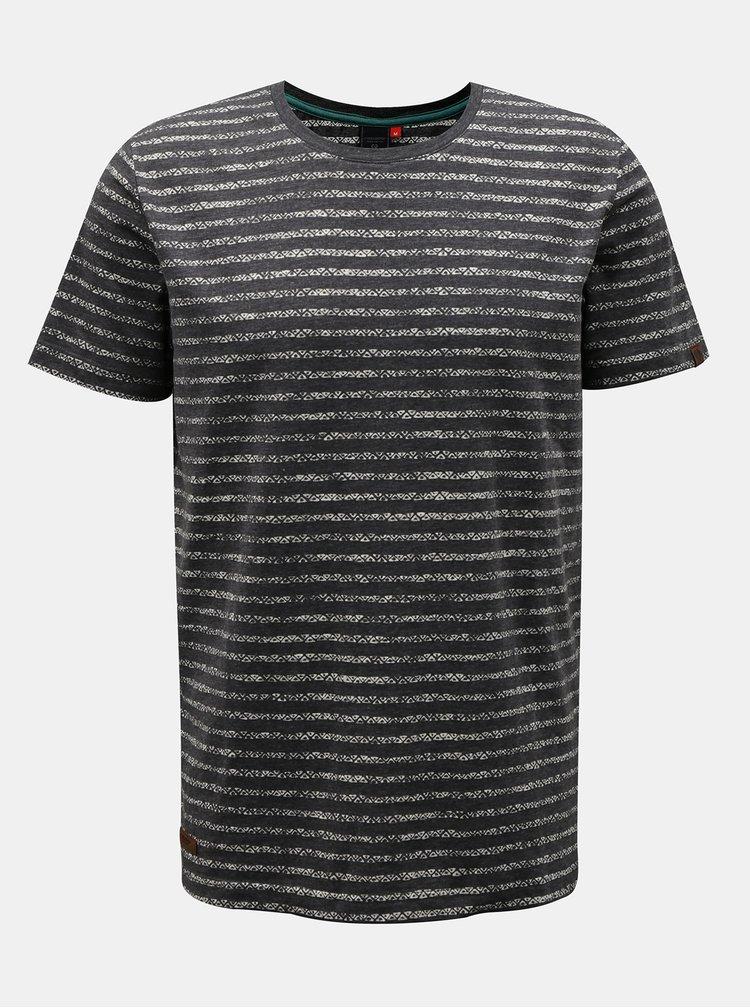Tmavě šedé pánské pruhované tričko Ragwear Steef