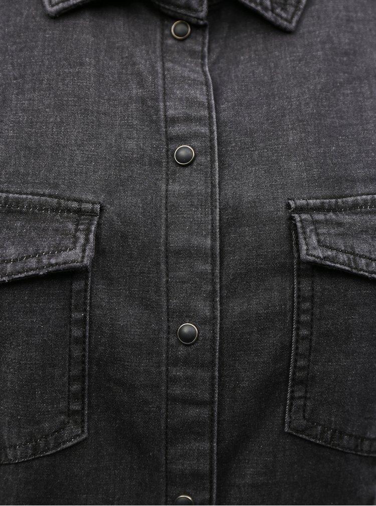 Černé džínové košilové šaty ONLY