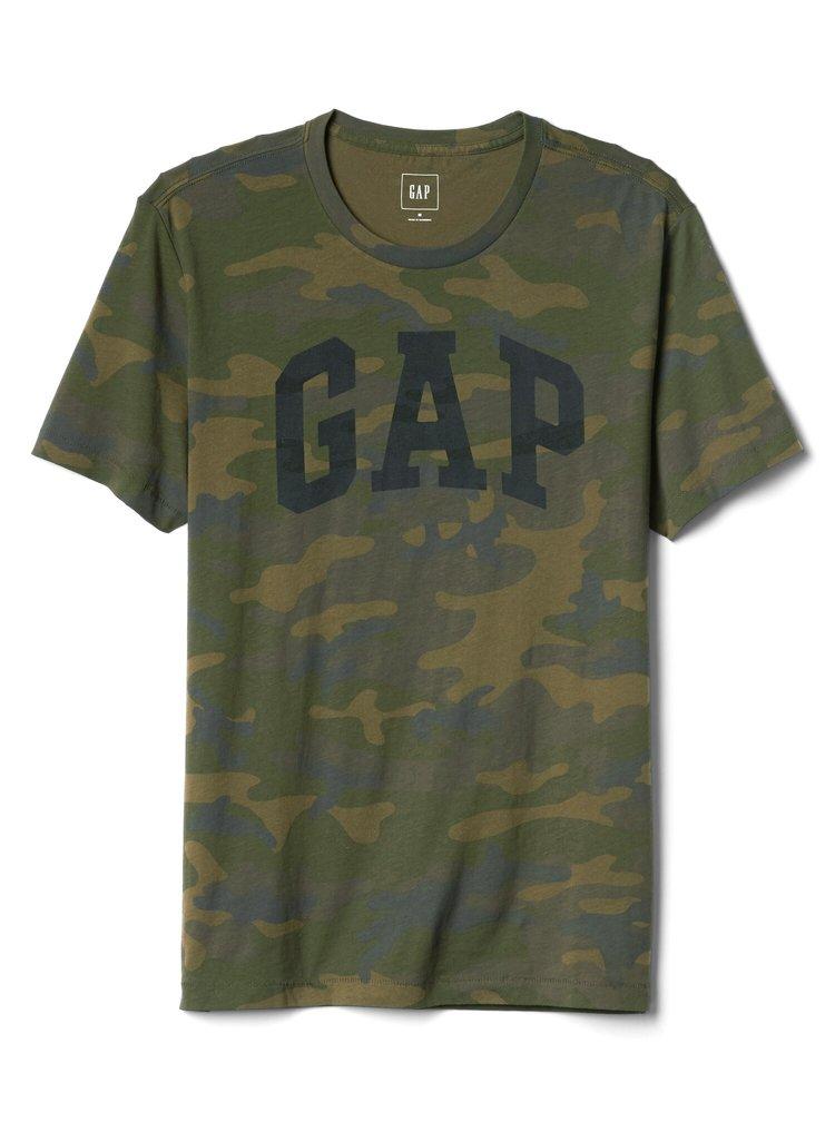 Hnědé pánské tričko GAP Logo Camo