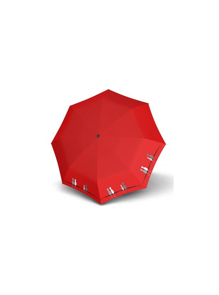 Doppler Magic Fiber CATS Family plně automatický deštník s dvěma koťátky - Červená