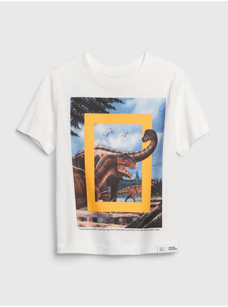 Bílé klučičí tričko GAP National Geographic