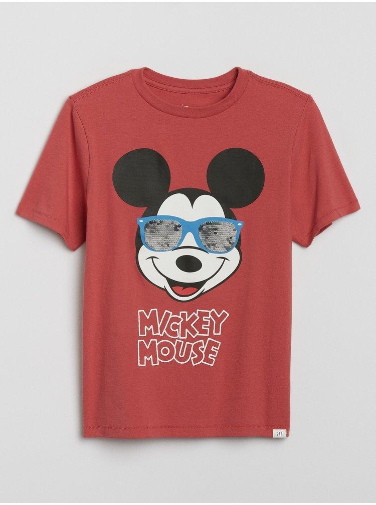 Červené klučičí tričko GAP Disney Mickey Mouse