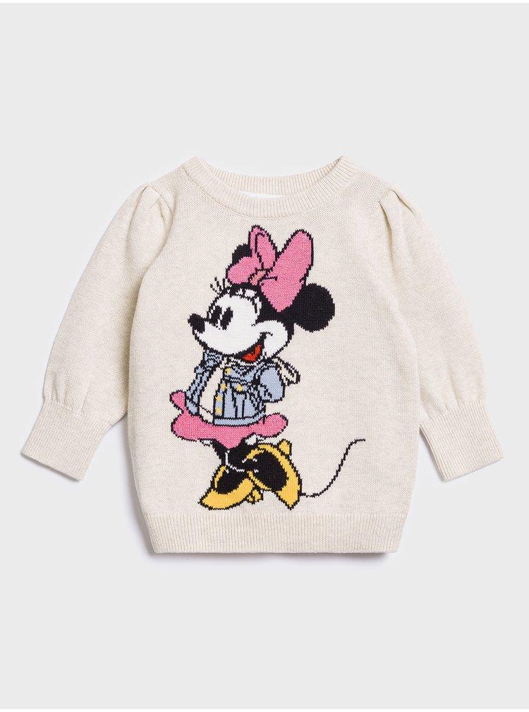 Béžový holčičí svetr GAP Minnie Mouse
