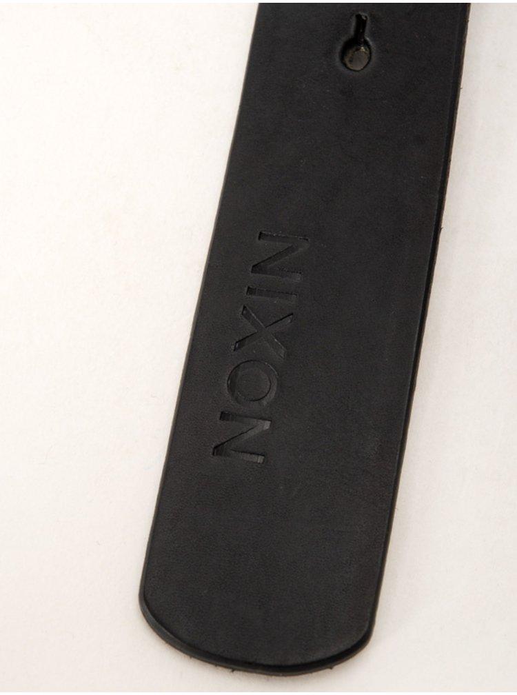 Nixon ICON CUT OUT ALLBLACK pánský kožený pásek - černá