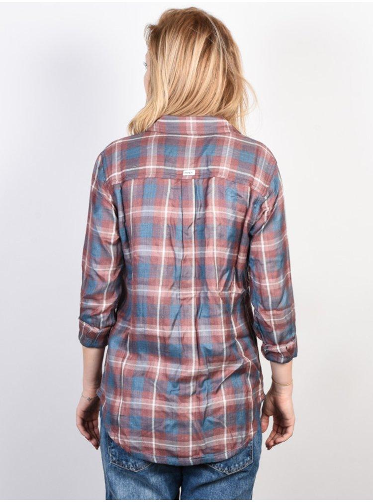 RVCA YORK RAISIN dámská košile s dlouhým rukávem - modrá
