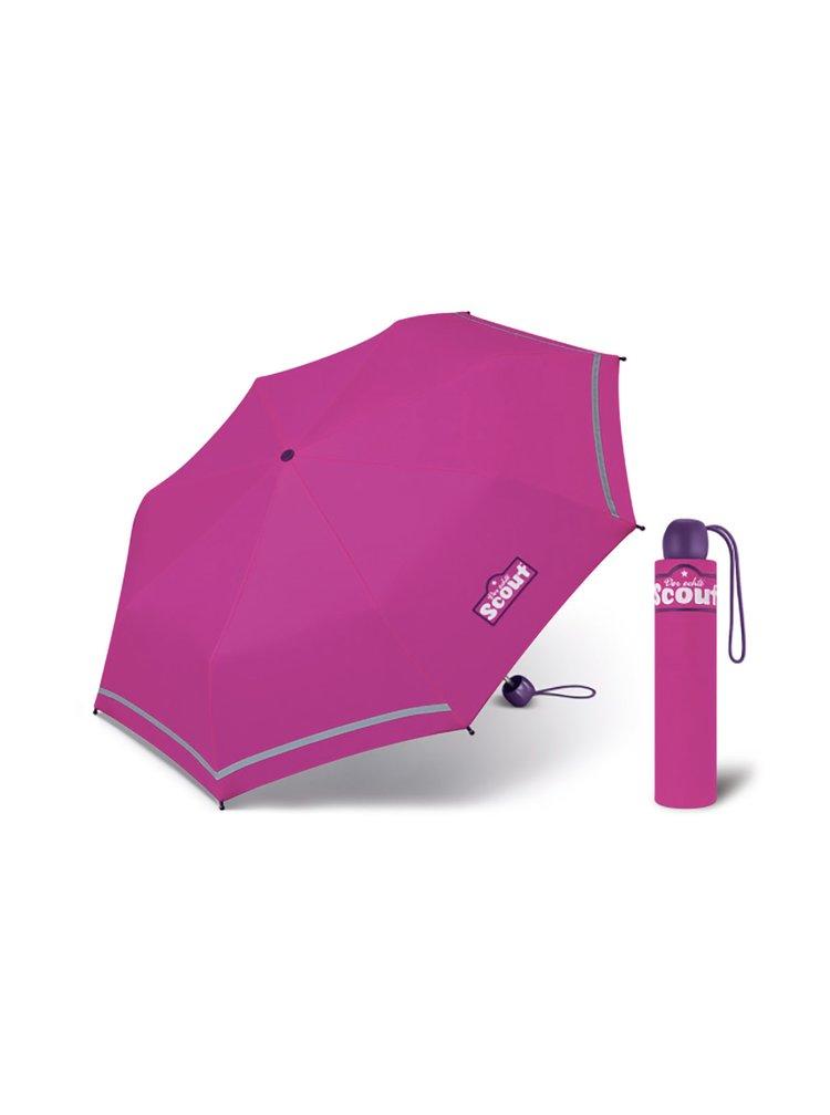 Scout BASIC PINK dívčí skládací deštník s reflexním proužkem - Růžová