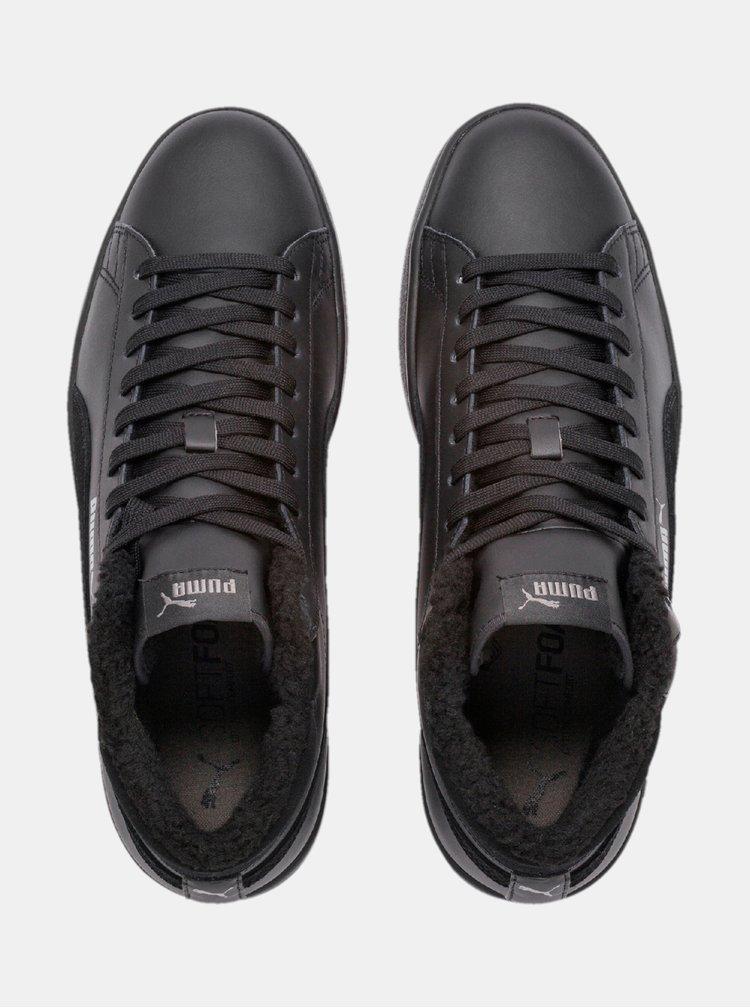 Černé pánské kožené kotníkové tenisky Puma