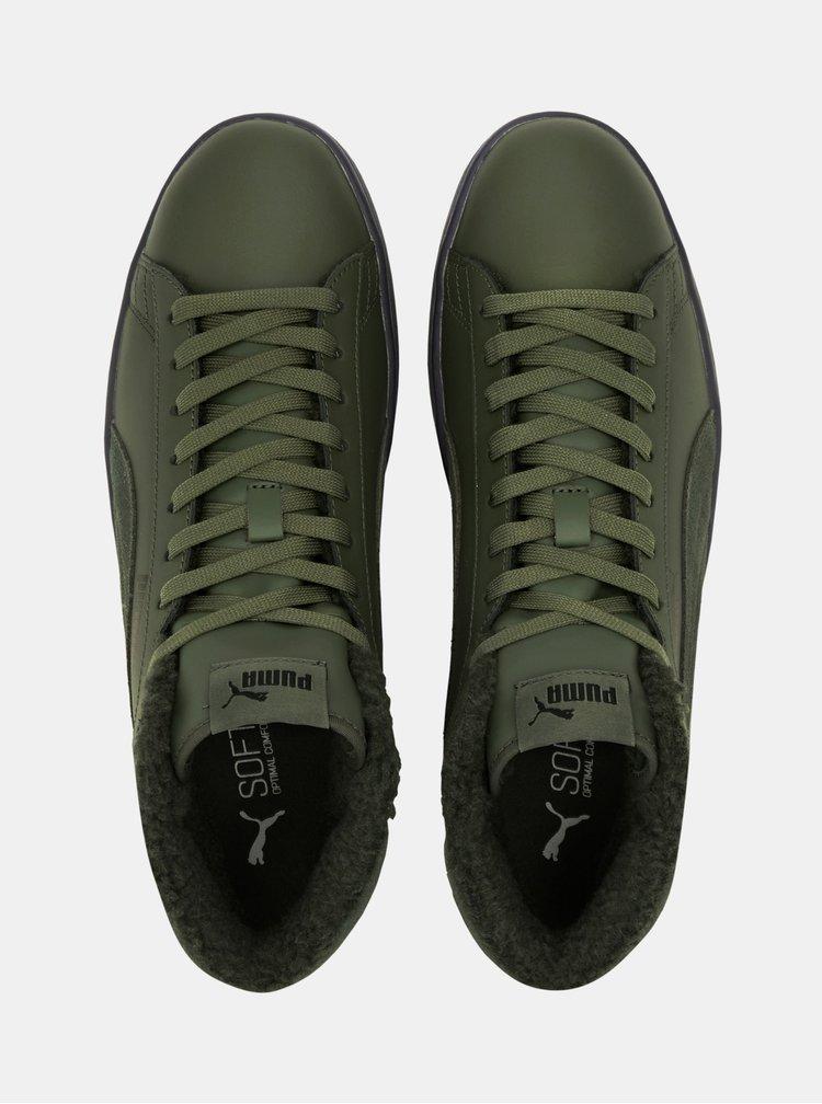 Khaki pánské kožené kotníkové tenisky Puma