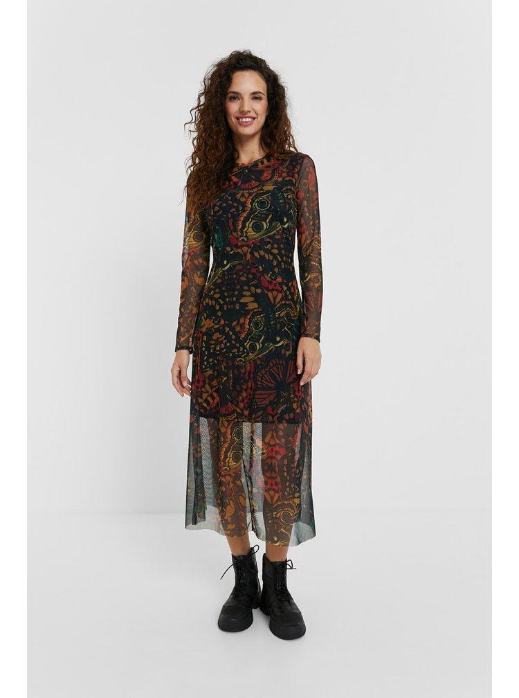 Desigual barevné šaty Pitavoles s motýli