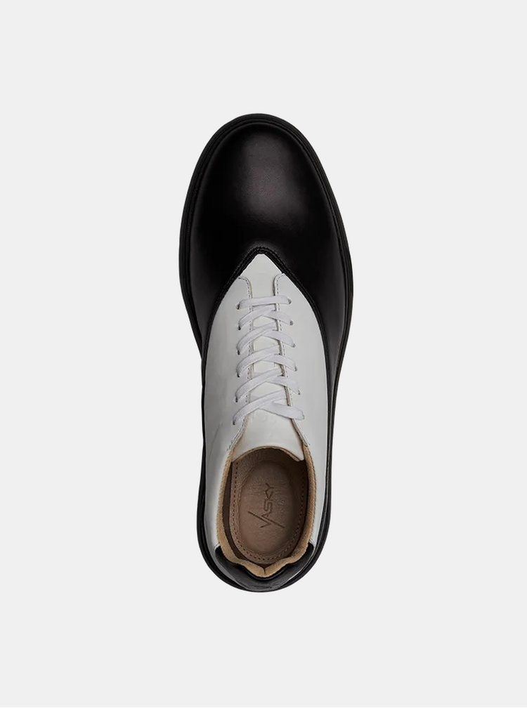 Bílo-černé kožené tenisky Vasky