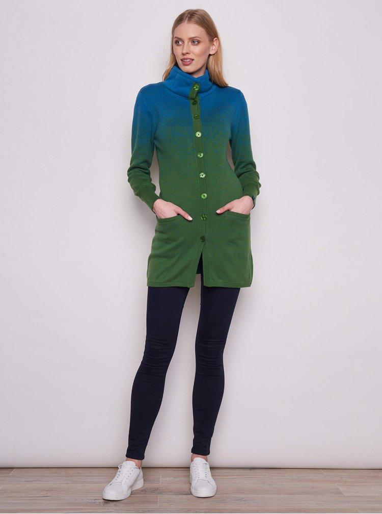 Zelený dámský dlouhý kardigan Tranquillo
