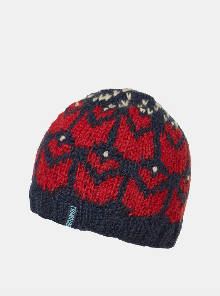 Modro-červená dámská vlněná čepice Tranquillo