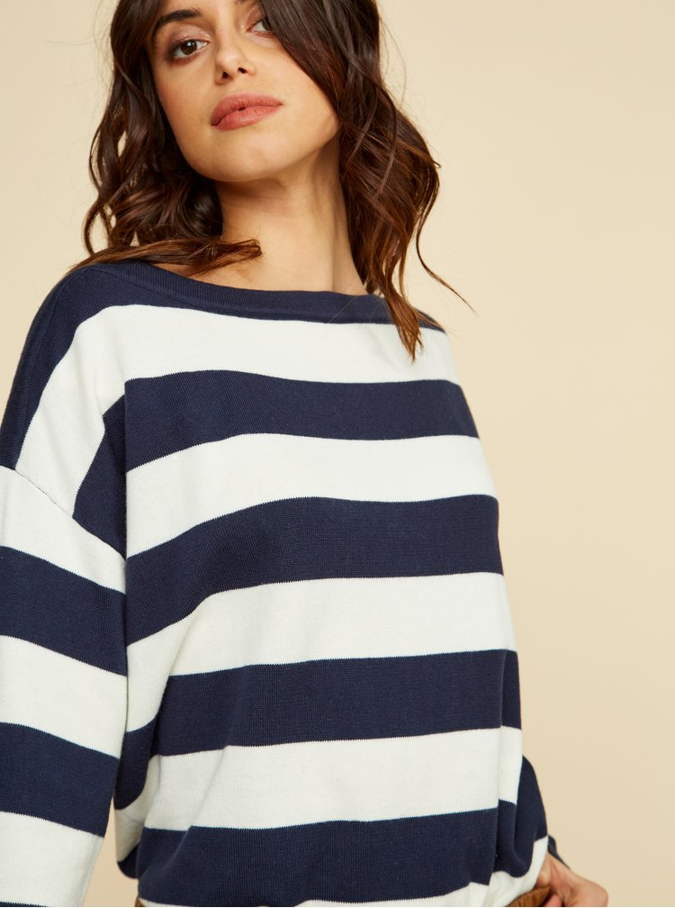 Bílo-modrý dámský pruhovaný basic svetr ZOOT Baseline Tracy