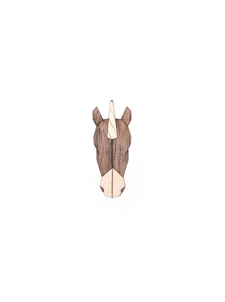 Dřevěná brož Unicorn Brooch BeWooden