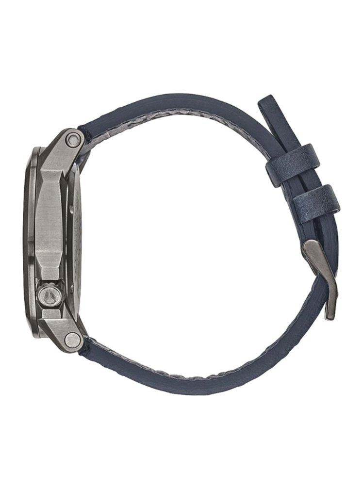 Nixon RANGER 45 LEATHER GUNMETALGREENOXYDE analogové sportovní hodinky - černá