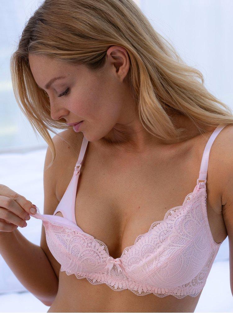 Růžová krajková kojicí podprsenka DORINA