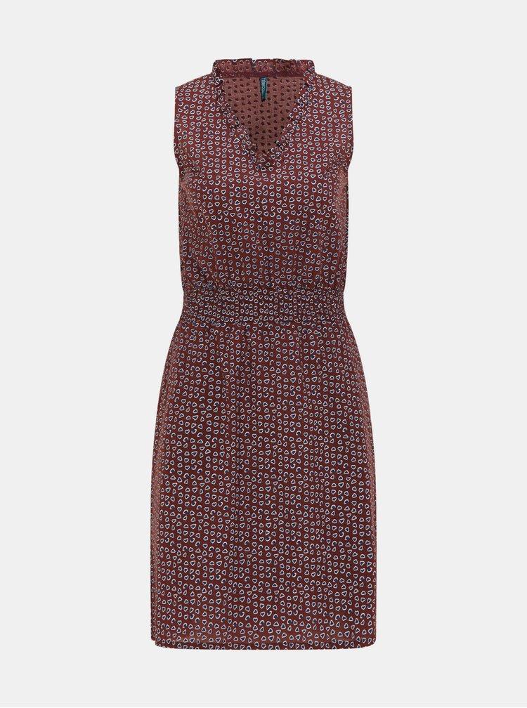 Hnědé vzorované šaty Tranquillo