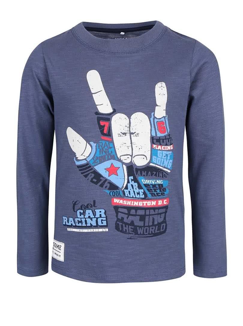 Tmavě modré klučičí tričko s potiskem name it Land