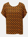 Bluza negru-oranj cu model VERO MODA Loa