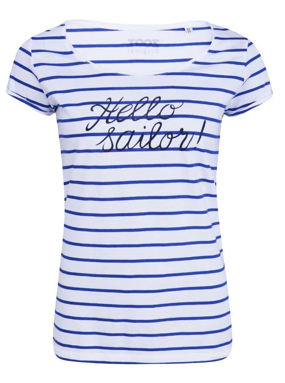 Modro-bílé pruhované dámské tričko ZOOT Originál Hello Sailor