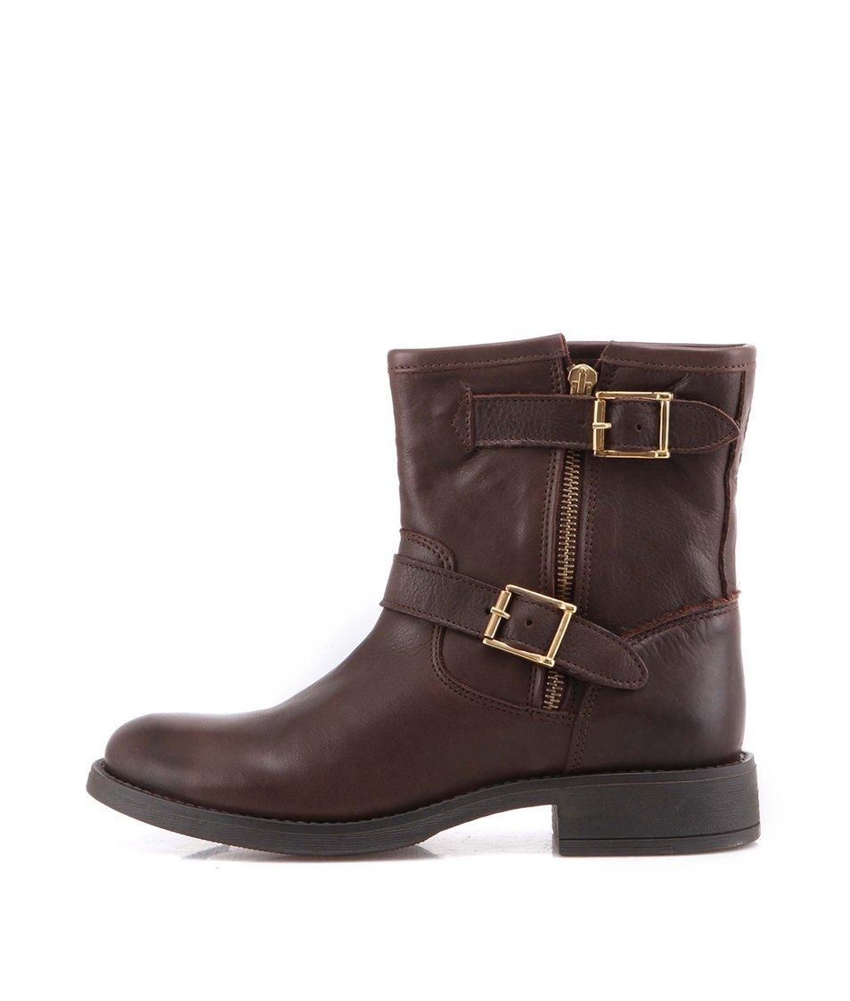 Zľava  Tmavohnedé kožené topánky s prackami Pieces Iza