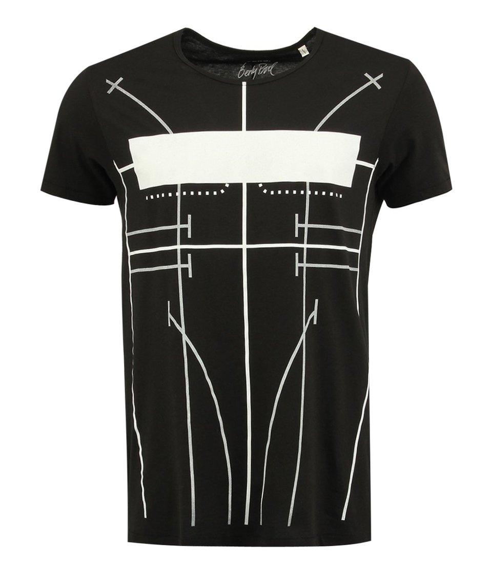 """Čierne unisex tričko """"korzet"""" od Pavla Berkyho"""