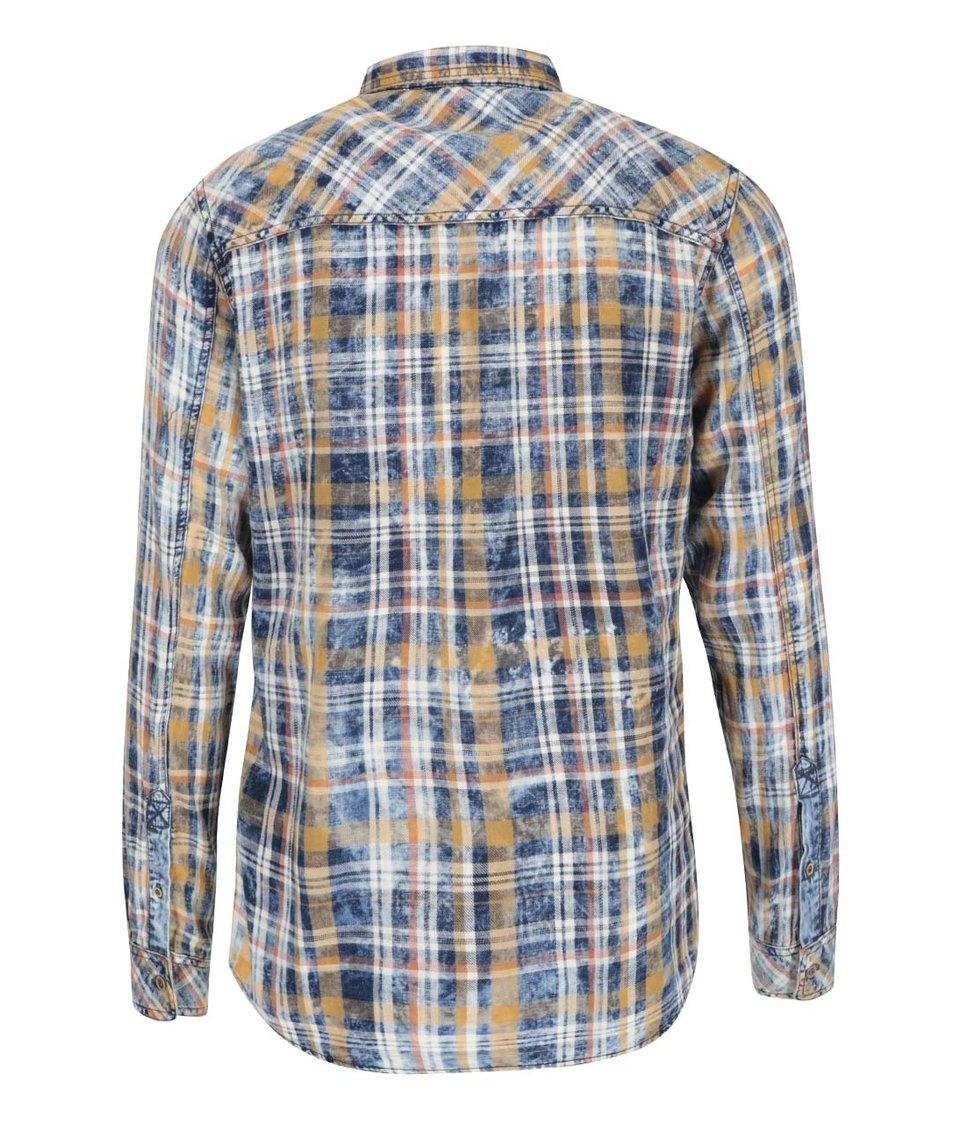 Žlto-modrá kockovaná vintage košeľa s oranžovými pruhmi !Solid Samu