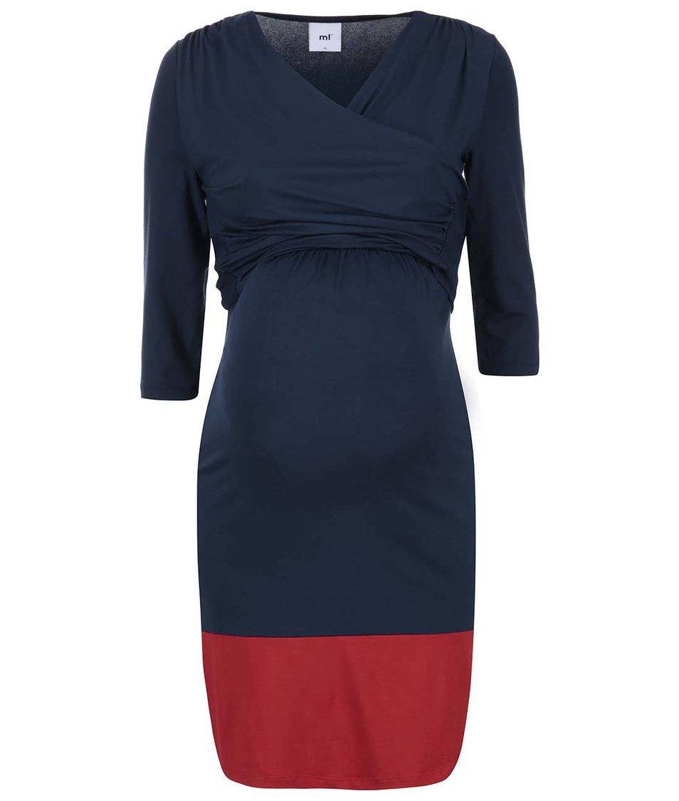 Tmavomodré šaty s červeným lemom Mama.Licious Henna