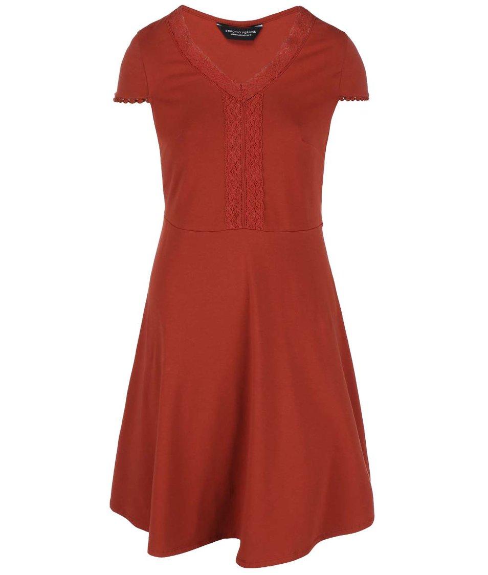 Tehlovo červené šaty s čipkovaným dekoltom Dorothy Perkins Curve